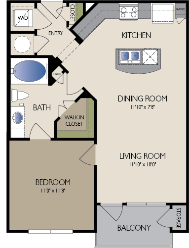 709 sq. ft. Burlin floor plan