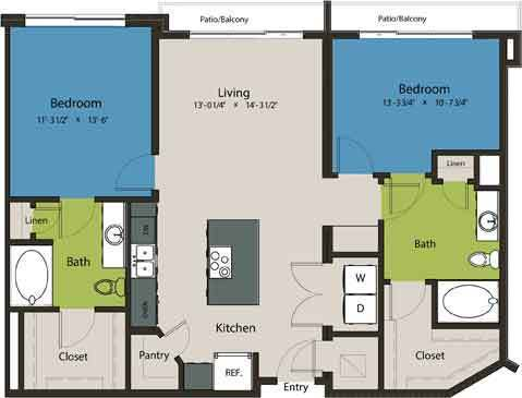 1,148 sq. ft. B10 floor plan