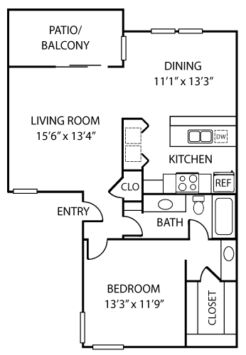 890 sq. ft. A2 floor plan