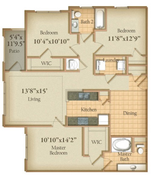 1,292 sq. ft. floor plan