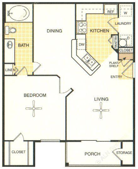 822 sq. ft. Bastrop floor plan