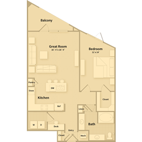 940 sq. ft. B1.2 floor plan
