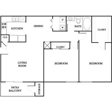 900 sq. ft. Mangnolia floor plan