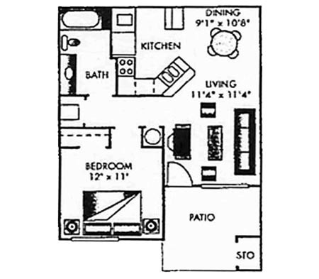 650 sq. ft. A-PH I floor plan
