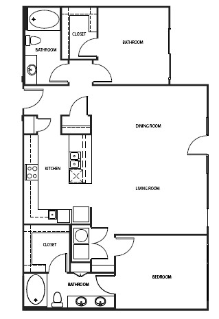 785 sq. ft. 2A1A-1 floor plan