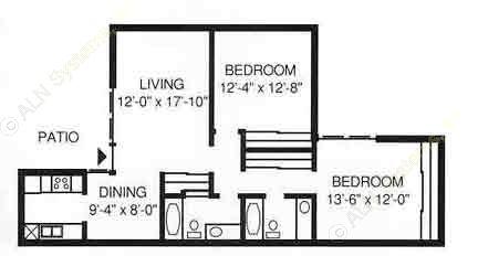 1,019 sq. ft. A floor plan