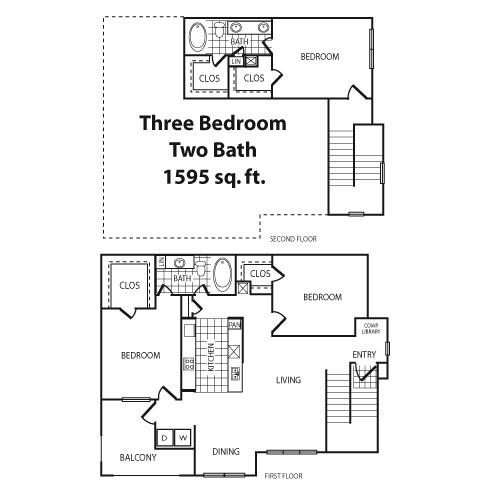 1,595 sq. ft. C1 floor plan