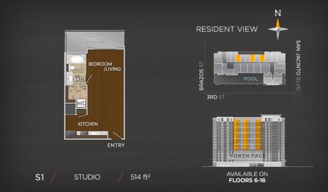 514 sq. ft. S1 floor plan
