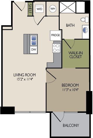 681 sq. ft. D3 HC floor plan