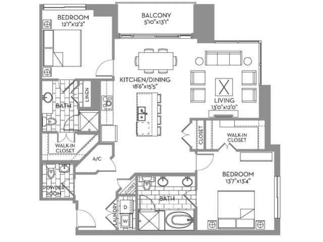 1,437 sq. ft. Douglas(B.5) floor plan
