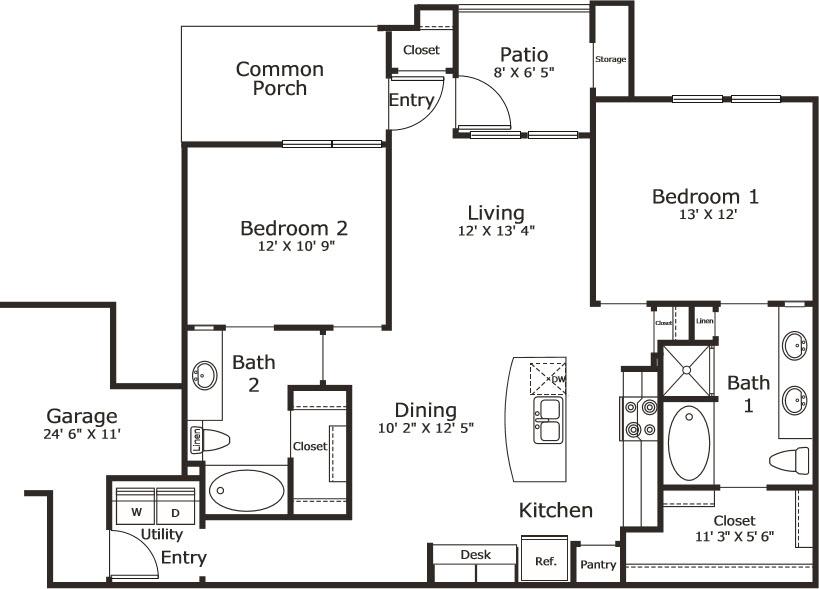 1,121 sq. ft. B3G floor plan