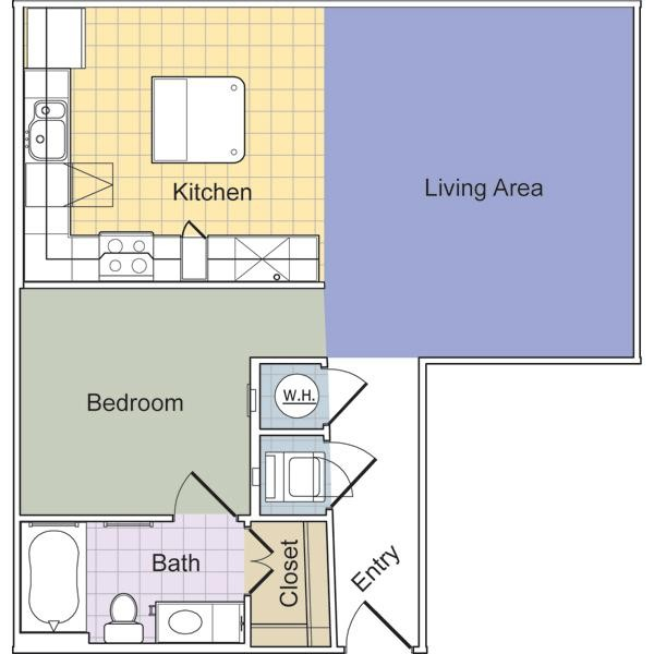 733 sq. ft. to 762 sq. ft. Luxe (E1B) floor plan