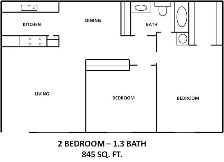 845 sq. ft. B1 floor plan