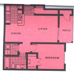 680 sq. ft. A4-III floor plan