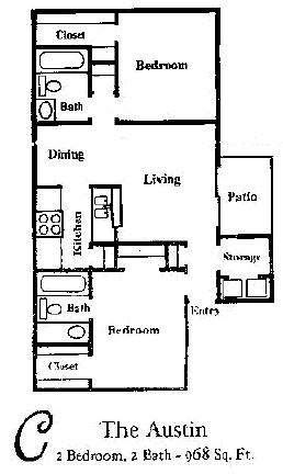 968 sq. ft. AUSTIN floor plan