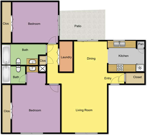 950 sq. ft. floor plan