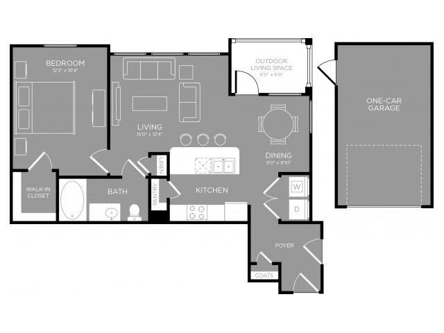 823 sq. ft. Dahila floor plan