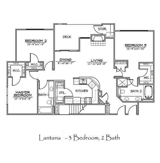 1,331 sq. ft. to 1,392 sq. ft. LANTANA floor plan