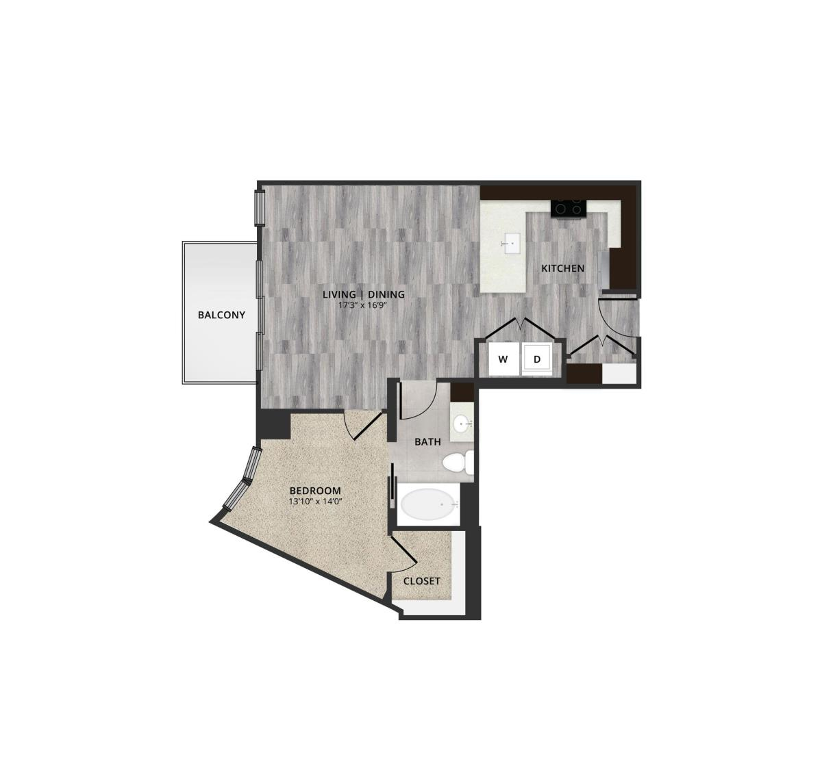 775 sq. ft. B6 floor plan
