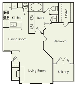 826 sq. ft. B floor plan