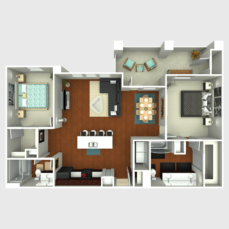 1,131 sq. ft. B4 floor plan