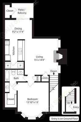 807 sq. ft. A2 floor plan