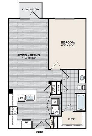 792 sq. ft. A6 floor plan