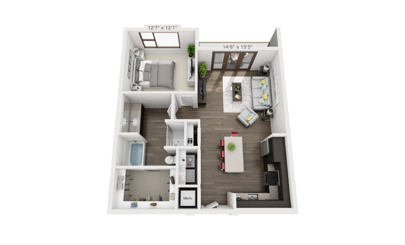 846 sq. ft. A5 floor plan