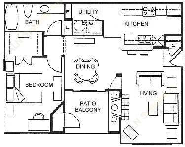 754 sq. ft. B floor plan