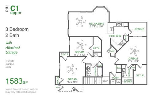 1,583 sq. ft. C1U floor plan