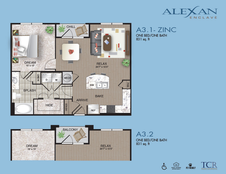 831 sq. ft. A3.2 floor plan