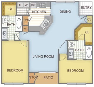 1,334 sq. ft. Pine floor plan