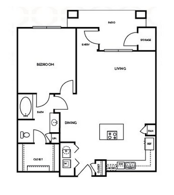 893 sq. ft. A3.4 floor plan