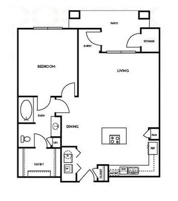 893 sq. ft. A3.4 floor plan