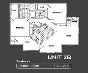 1,309 sq. ft. B2 floor plan