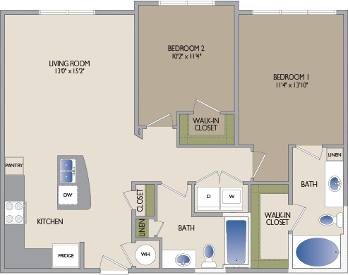 1,047 sq. ft. Westheimer floor plan
