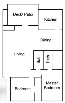 1,115 sq. ft. H floor plan