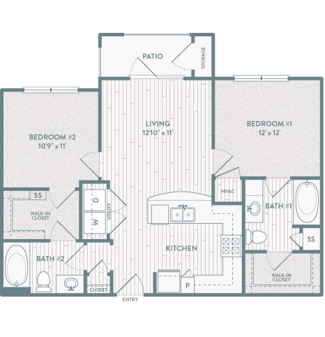 891 sq. ft. B1 floor plan