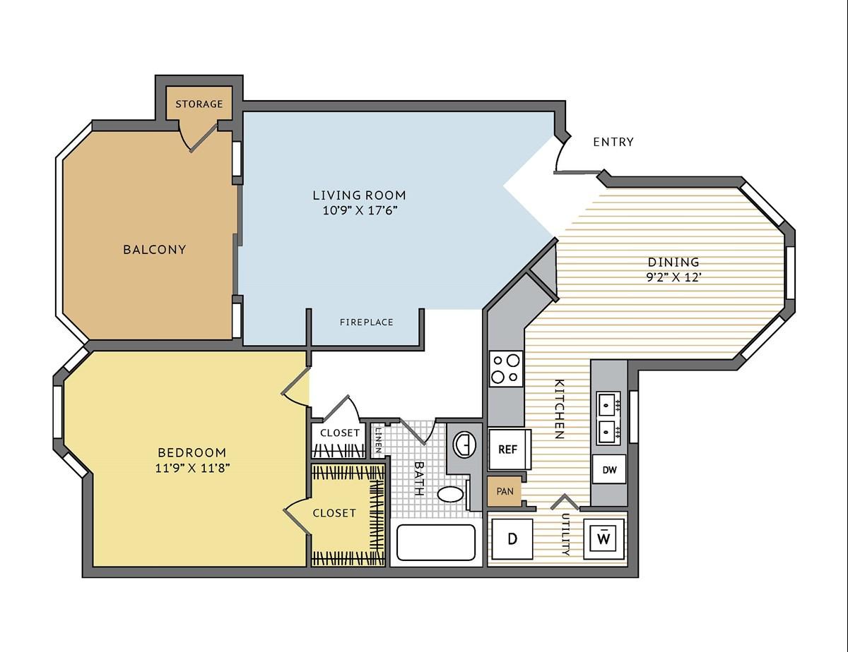757 sq. ft. Bradbury floor plan