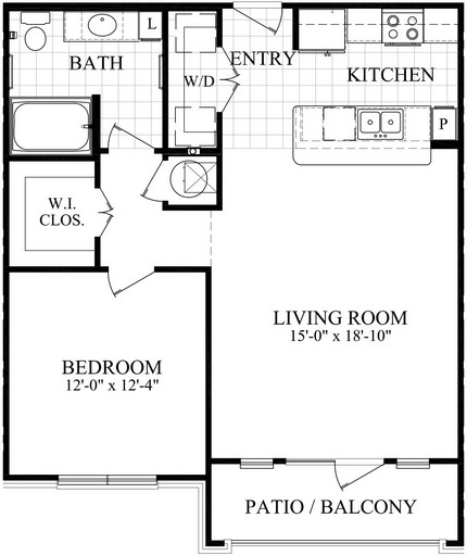 797 sq. ft. B1.1 floor plan