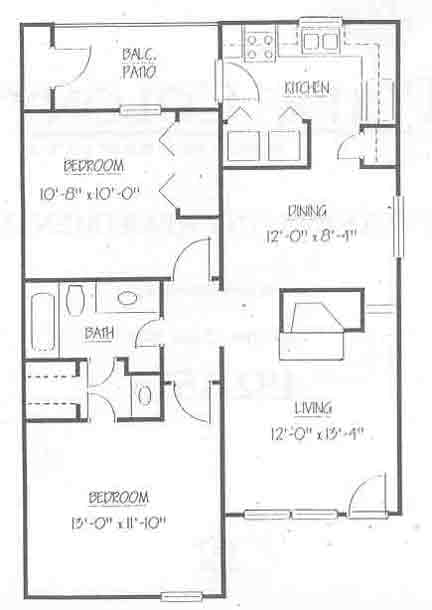 870 sq. ft. B1 50 floor plan