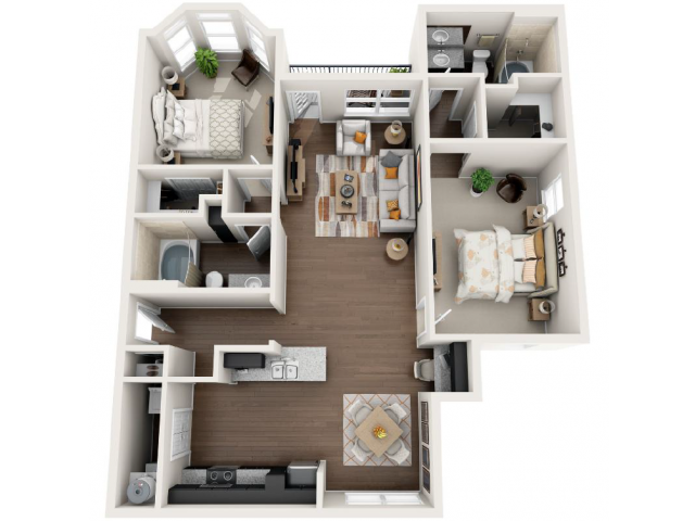 1,266 sq. ft. E floor plan