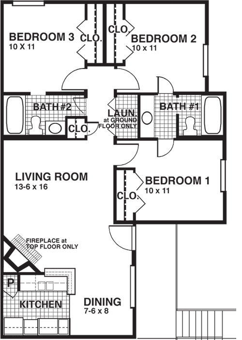987 sq. ft. CF floor plan