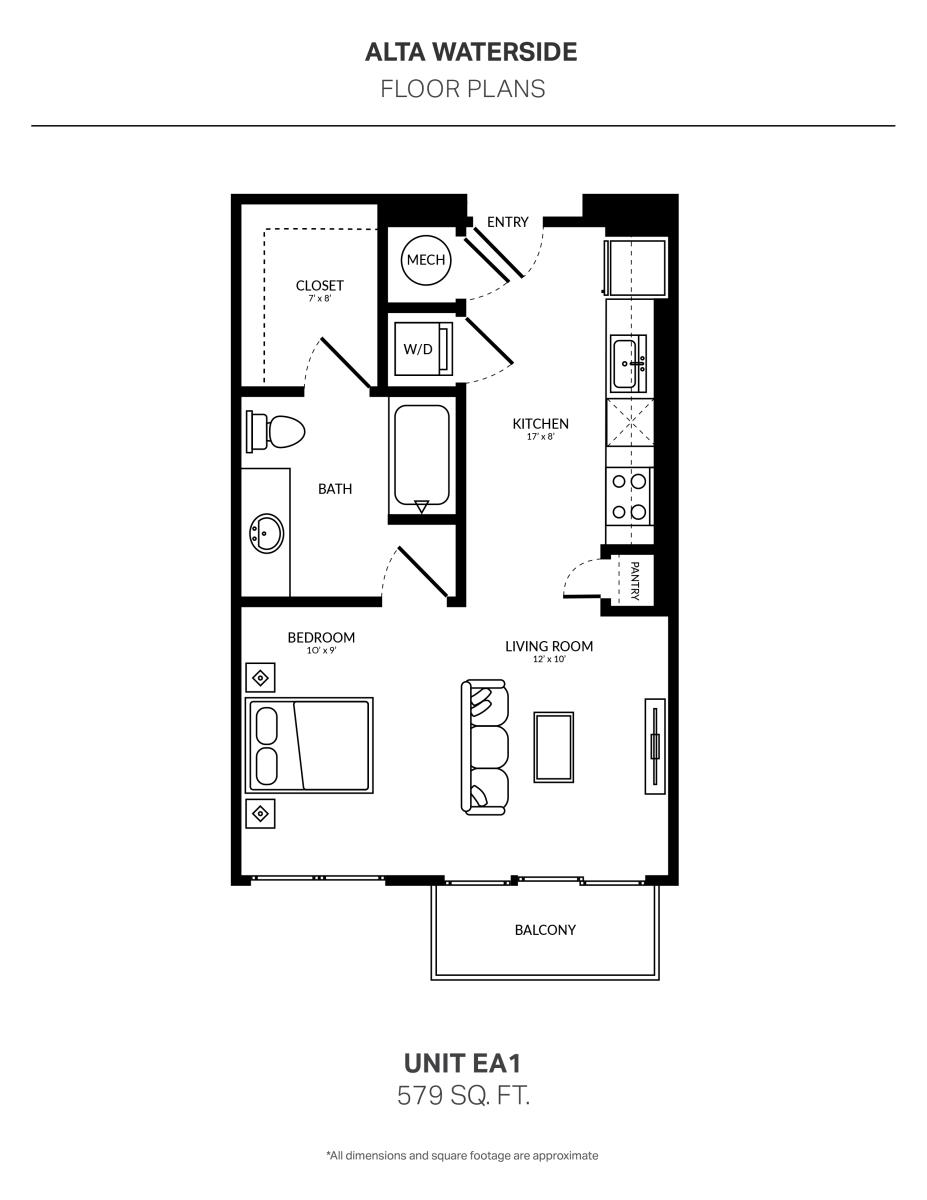 579 sq. ft. EA1 floor plan