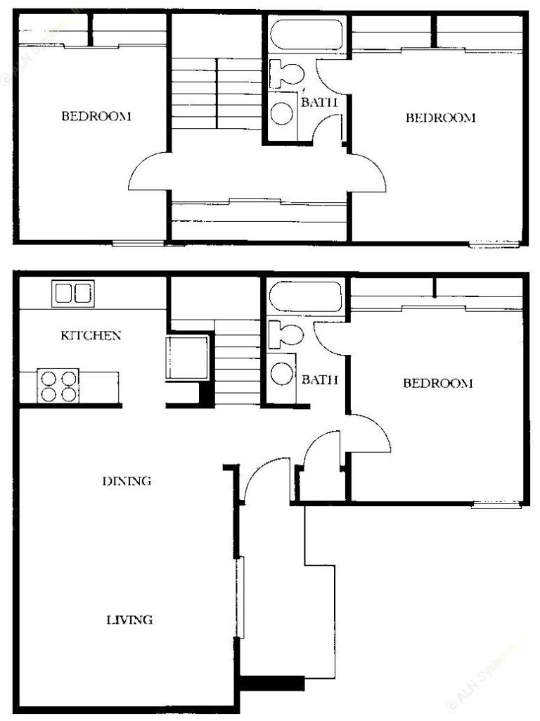 1,117 sq. ft. C1 floor plan
