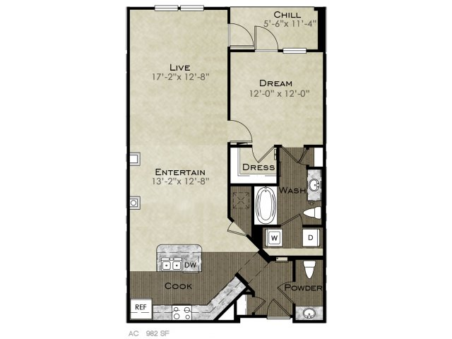 982 sq. ft. Jennings floor plan