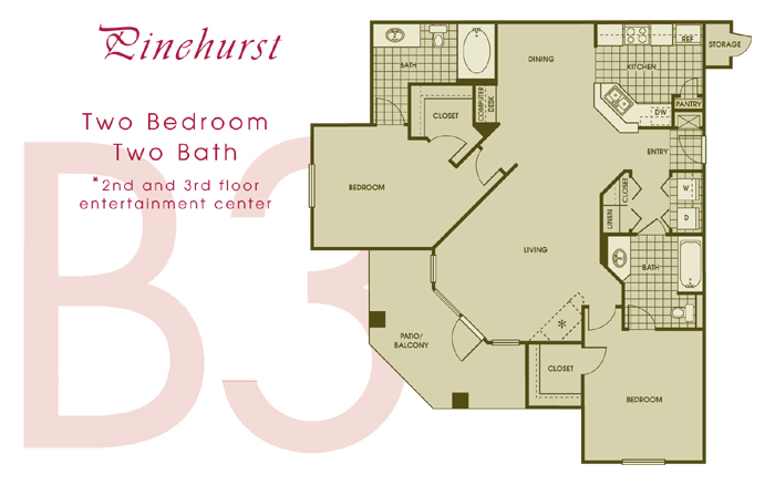 1,175 sq. ft. PINEHURS floor plan