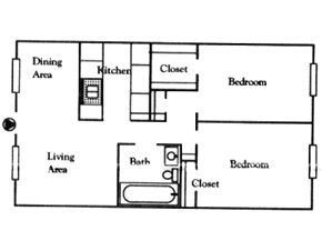 891 sq. ft. D floor plan