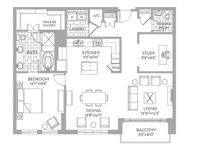 1,342 sq. ft. Preston(A.9) floor plan