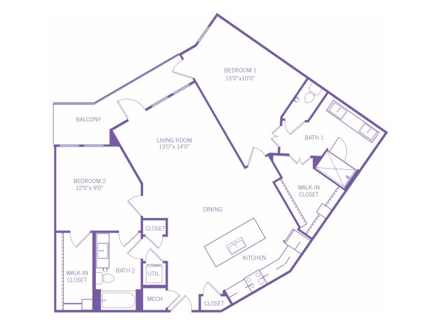 1,263 sq. ft. B6 floor plan